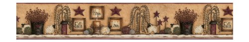 York Wallcoverings Best Of Country CN1136BD Faith Hope Love Shelf Border, Khaki Background
