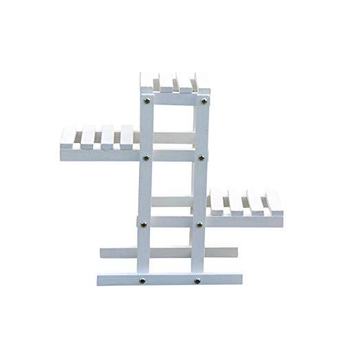 Banco con escalera para plantas de madera, soporte para estante desmontable de 3 niveles, soporte para escalones, jardinera para interiores, rinconera para exteriores, patio, balcón
