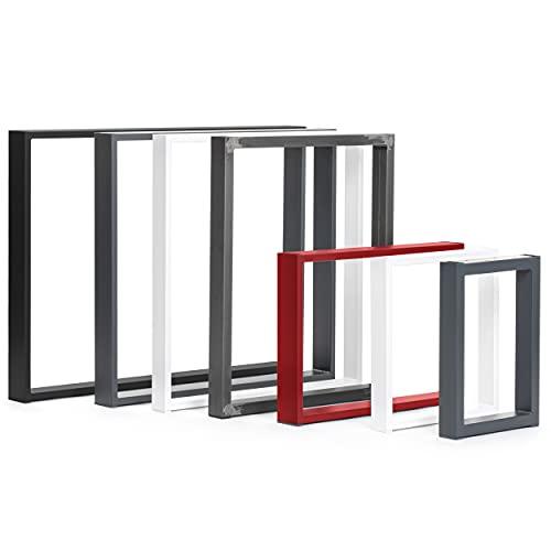 HOLZBRINK Patas de Mesa perfiles de Acero 80x20 mm, Forma de Marco 60x72 cm, Blanco Tráfico, 1 Pieza, HLT-01-C-CC-9016