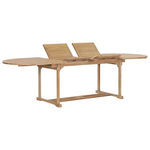 vidaXL Solid Teak Extendable Garden Table Oval Outdoor Patio Dining Furniture