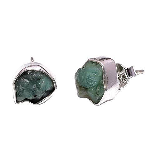 925 Sterling Silver Stud Earrings, Natural Raw Emerald Handcrafted Women Jewelry RSSE579