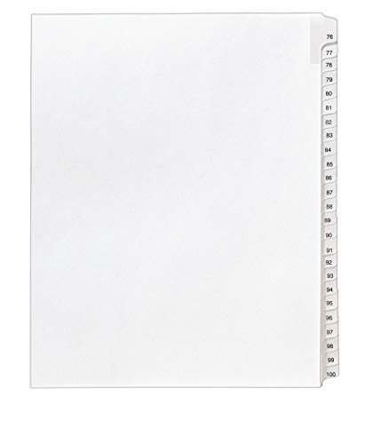 Avery Legal Dividers, Allstate Collated Sets, Letter Size, Side Tab, 76-100 Tab Set (01704),White