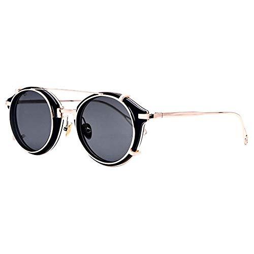 LG Snow Europa Y Los Estados Unidos Redondas Gafas Retro Steampunk Gafas De Sol Hombres UV400 Protección (Color : Gray)