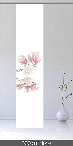 gardinen-for-life Schiebevorhang 300 cm Magnolie/Schiebegardine/Flächenvorhang Größe 60x300 cm mit Technik Paket