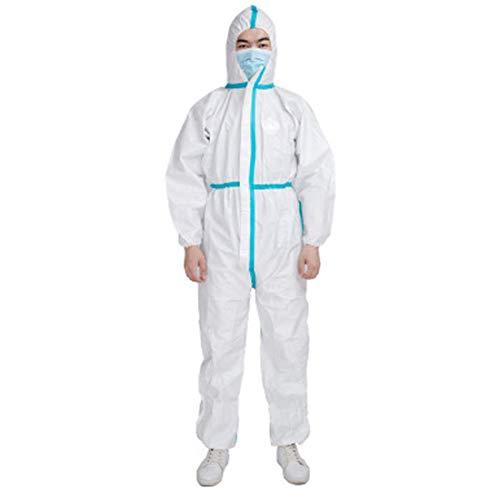 Sidiou Group Tuta Integrale Lavora Un Pezzo Abiti da Lavoro Uomo Donna Abbigliamento da Lavoro con Zip Frontale Vestiti da Lavoro (Pp + PE 63g Bianco con Nastro Blu, Taglia Unica)