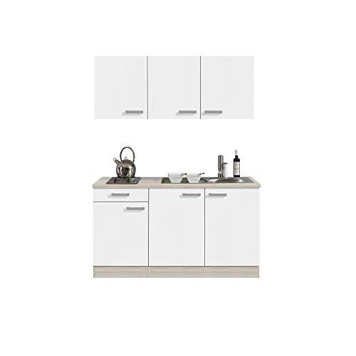Singleküche BARCELONA - Miniküche mit Glaskeramik-Kochfeld und Spüle - Breite 150 cm - Weiß/Akazie mit Echtholzstruktur