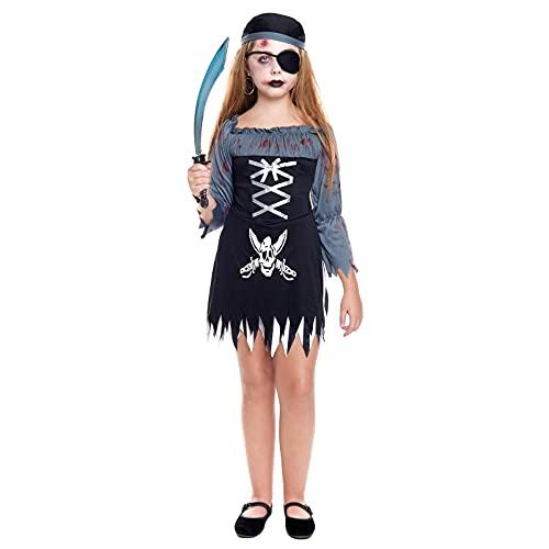 Disfraz Fantasma Pirata Zombie Nia [Talla 3-4 aos] Tallas Infantiles 3 a 12 aosVestido y Pauelo Disfraces Halloween Nia