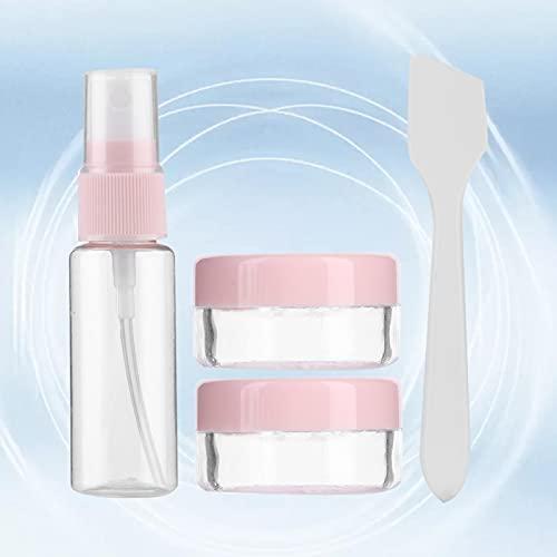 Uxsiya Botellas de viaje, loción y tarros de crema, kit de champú, recipiente para champú, toalla reutilizable (rosa)
