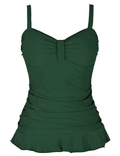 Hilor Damen Tankini im Retro-Stil der 50er-Jahre, Rüschensaum - Grün - 38