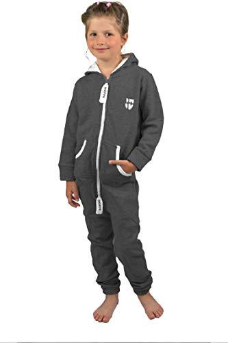 Gennadi Hoppe Kinder Jumpsuit Overall Jogger Trainingsanzug Mädchen Anzug Jungen Onesie,dunkel grau - 6