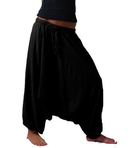 KUNST UND MAGIE Orientalische Haremshose one Size in vielen Farben, Farbe:Black/Schwarz