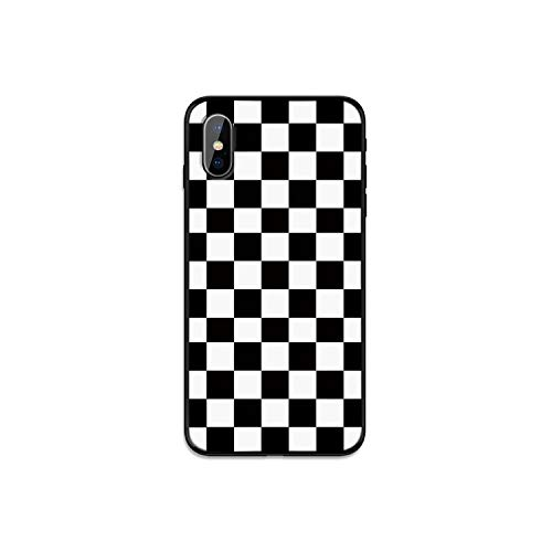 Funda para iPhone 11 Pro X Xs Max Xr 7 8 6 6S Plus 5S SE, color negro y blanco cuadrícula de cuadros cuadros cuadros cuadros cuadro simple retro cubierta Coque Funda-9-para iPhone Xr