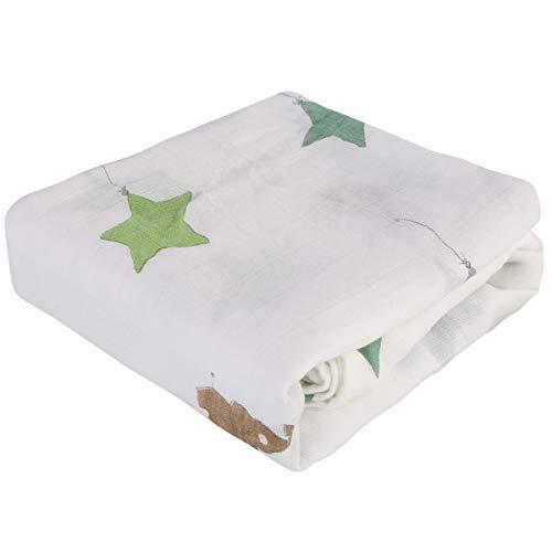 Rehomy 1 manta de bebé para bebé con estampado de animales recién nacidos, suave recibiendo manta para niños y niñas, 47 x 47 pulgadas (estrellas y elefante)