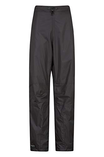Mountain Warehouse Spray Wasserfeste Überhose für Damen - Hose mit Netzfutter, Ripstop, Regenhose mit Reißverschluss am Bein - Für Frühling, Wandern und Radfahren Schwarz 38