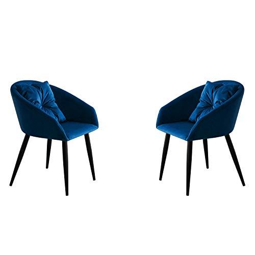 Adec Group Dune, Pack 2 Butacas de Diseño, Sillon de Espera Fijo con Cojin, Estilo Nordico, Tapizada en Tejido Velvet Azul y Patas Color Negro, Medidas: 58 cm (Ancho) x 58 cm (Alto) x 75 cm (Fondo)