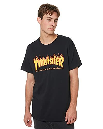 THRASHER TRUTSH05749 T-Shirt, Nero (Nero/Fiamme), Large (Taglia Produttore:L) Uomo