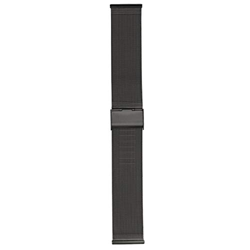 GOLOFEA Stainless Steel Mesh Watch Band With Adjustable Length for Men and Women's Watches black-22mm