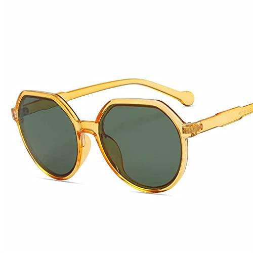 Polígonos Gafas de Sol Mujeres Hombres Retro Gato Ojo Gafas de Sol Trasas para Damas Negro Verde UV400 (Color : 4, Size : F)