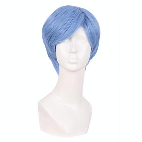 MapofBeauty 10 Inch/25cm Fashion Men Short Curly Hair Cosplay Wig (Periwinkle)