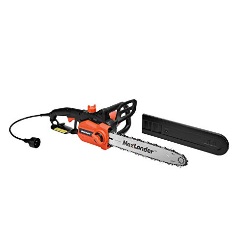 MAXLANDER Electric Chain Saw, 9Amp Corded Chainsaw, 15m/s with 14 Inch Chain and Bar, Light Weight Multi Angle Fast Cut Powerful High Efficiency