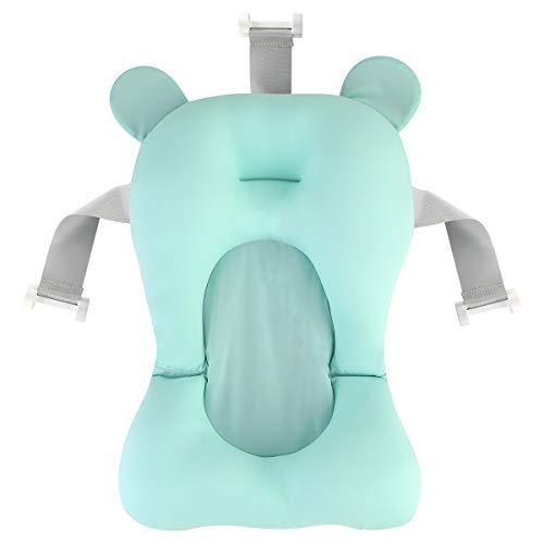 DaMohony Baby Badewannenkissen Baby Badewannenunterlage Neugeborene Anti-Rutsch Badewannenkissen schwimmend Bad Pad für Baby Matcha-Grün