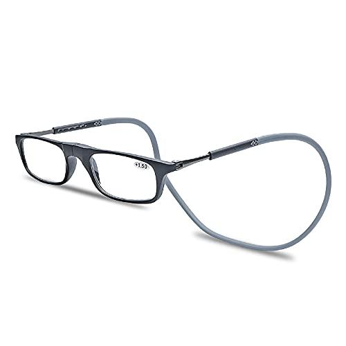 Magnetic Reading Glasses with Glasses Case Hang Neck for Women Men Lightweight Eyeglasses (Black Frame & Gray Legs, 2.0)