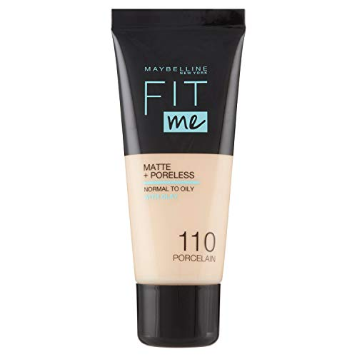 Maybelline New York, Base de Maquillaje que Calca a tu Tono Fit me! Mate y Afinaporos, Color: 110 Porcelain