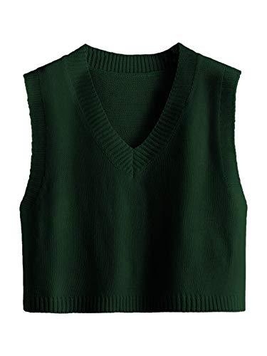 Romwe Women's Knitted V-Neck Vest JK Uniform Pullover Sleeveless Crop Sweater School Cardigan Dark Green S
