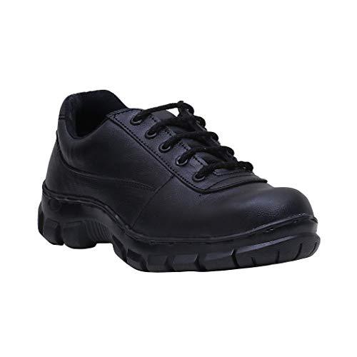 Peter John Leather's pj_070_black_3_8 Handmade Steel Toe Safety Leather Shoes for Men, Size 8 (Black)
