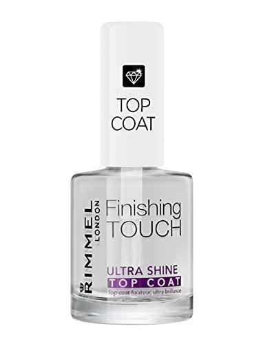 Rimmel London Top Coat Ultra Shine Finishig Touch ad Asciugatura Rapida per Smalto Unghie, Trasparente, 12 ml