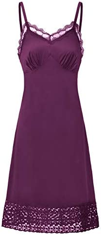 Full Slips for Women Under Dress Purple Lace Extenders Sleepwear Cami Slip S product image