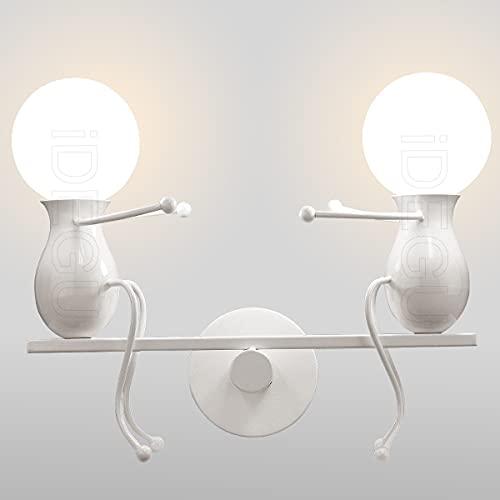 iDEGU - 2 lámparas de pared para interior o exterior, diseño creativo, balancín humanoide, lámpara de pared decorativa, iluminación E27, para habitación infantil, pasillo, escalera (blanco)