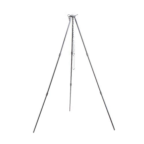 WJQ Outdoor Hanging Pot Tripod - 3-Section Hanging Pan Bracket, High-Hardness Alumina Telescopic Adjustment - Ideal for 3-5 People Outdoor Camping Hiking
