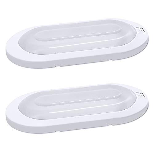 Facon (2 Packungen) LED-Deckenleuchte Innenleuchte mit EIN- / Ausschalter 12 V, 7 W, ovales Licht für Wohnmobile, Wohnwagen, Anhänger, Boote, Schiffe und Fahrzeuge (weiß)