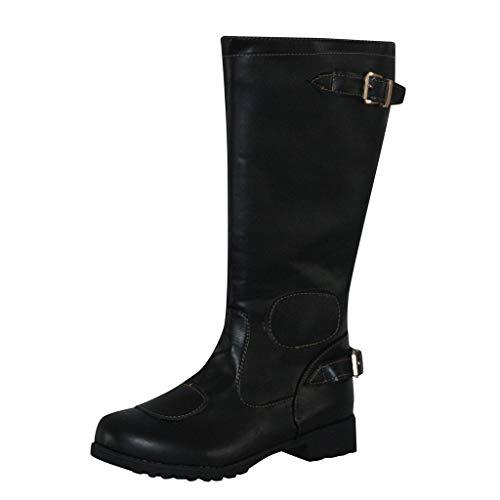 WUSIKY Stiefeletten Damen Bootsschuhe Boots Geschenk für Frauen Herren Leder Kniehohe Schnalle Reißverschluss Schuhe Cowboy Knigh Stiefel mit niedrigen Absätzen (Schwarz, 34.5 EU)