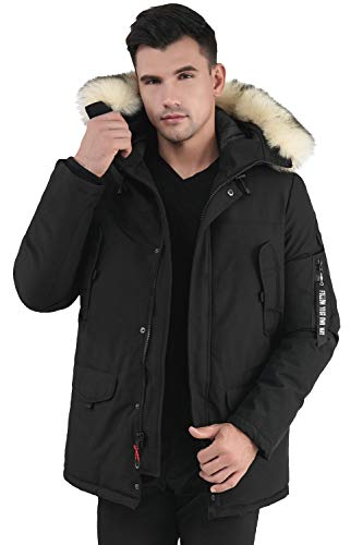 Molemsx Winter Thicken Club Outdoor Jacket, Mens Parka with Hood Men's Waterproof Heavyweight Parka Jacket with Trim Down Alternative Skiing Mountain Coat Black X-Large
