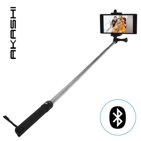 Akashi - Palo Selfie con Control Remoto Bluetooth, Selfie Stick Extensible de Aluminio para iPhone XS MAX/XR/XS/X/8/8P/7/7P/6, Galaxy S10/S9/S8/S7, Huawei, Xiaomi y etc