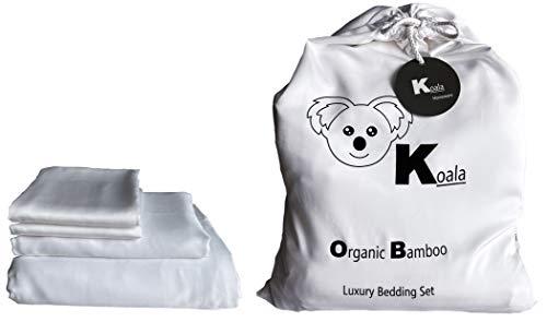 KOALA - Juego de cama de bambú 100% orgánico, tamaño king, color blanco perla
