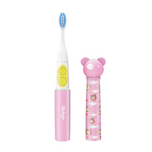 Richgv Elektrische tandenborstel voor kinderen, waterdicht IPX7, op batterijen werkende sonische tandenborstel met Smart Timer en 2 opzetborstels, Kids Electric ToothBrush roze