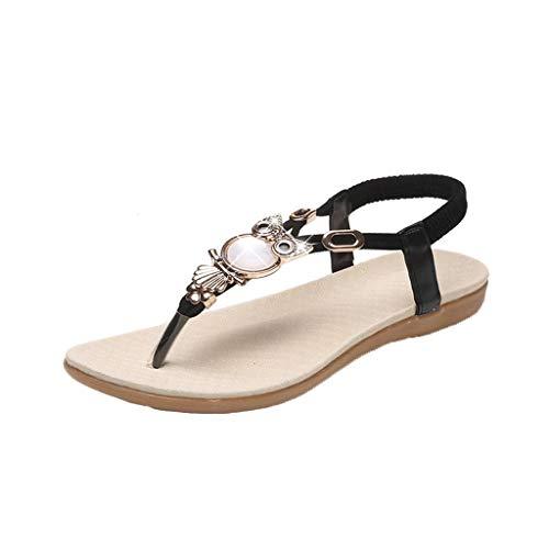Luckycat Mujeres Chanclas Sandalias Boho el Estilo del Clip del Dedo del pie de Las Sandalias Planas de Las Correas de Las Sandalias Peep Toe Playa Zapatos