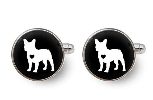 Dandelion French Bulldog Cufflinks,Dog Cufflinks, French Bulldog Cuff Links