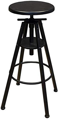 WWWWW-DENG barkruk, in hoogte verstelbaar, zwart, metaal, draaibaar, hoge rugleuning, zithoogte van massief hout, zwart