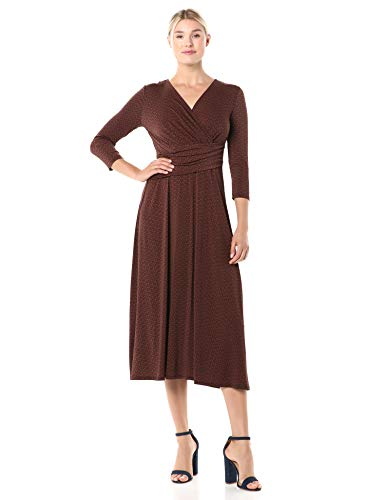 Chaus Women's 3/4 Sleeve Elemental Forms Wrap Dress, Burnt Caramel, Large