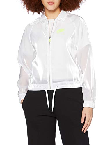 NIKE W Nsw Air Jkt Sheen - Chaqueta deportiva para mujer, Mujer, Chaqueta deportiva., CU5544, Blanco/Voltio, S