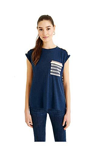 Desigual TS_Dublin Camiseta, Azul, XL para Mujer