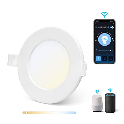 Aigostar Slim Downlight LED inteligente Wifi, 6W, CCT. Regulable de luz cálida a blanca 3000-6500K, 360lm. Compatible Alexa y Google Home. Foco empotrable: 11,5 x 3,2 cm alto. [Clase energética A +]