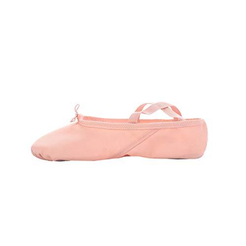 SKYSOAR Ballettschuhe Tanzschuhe Gymnastik Yoga Schuhe Split Sole Leder Wohnungen für Mädchen Damen Kinder und Erwachsene, Pink, 39 EU
