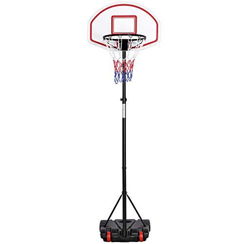 Yaheetech Panier de Basket-Ball sur Pied Hauteur Réglable 159-214 cm 5 Niveaux avec Support et roulettes Rouge