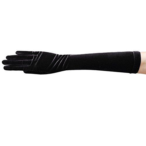 ZAZA BRIDAL Stretch Velvet Gloves Below-The-Elbow Length 8BL-Black