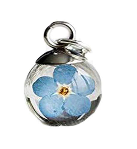 heng yuan Halskette mit Anhänger Tiny Forget Me Not (englischsprachig), gepresste Blumen Globe, Geschenk für Sie, Gedenkkette, Something Blue, Harzkette